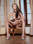 Anna Aj Nude Corset Trimmed Pussy Chair Sensual Posing - Picture 16
